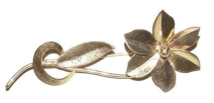 Signed Binder Brothers c1940 Retro Pink and Yellow Gold Flower Brooch