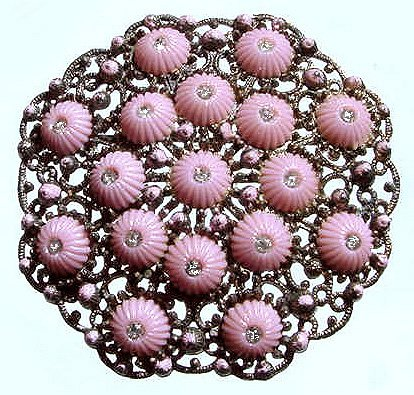 1920s Art Deco Czech Glass and Filigree Gurtler Brooch - Free USA Shipping