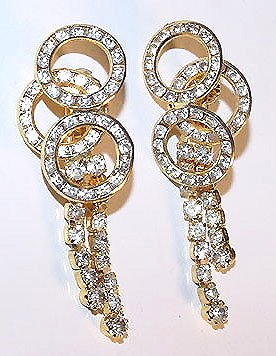 Vintage 1980s Swinging Rhinestone Sweeper Earrings Free USA Shipping