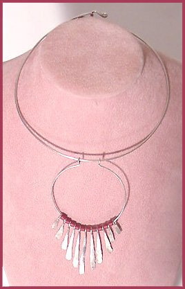 1960s Modernist Silverplated Torque Necklace - Free USA Shipping