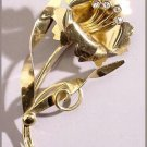 Retro Gold on Sterling Big Flower Brooch, 1940s