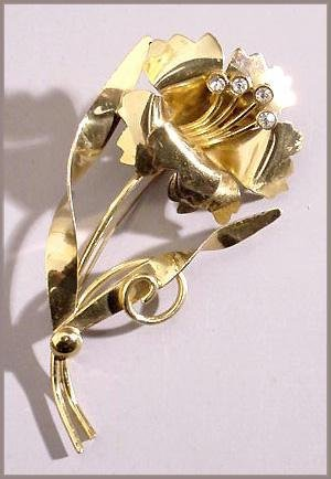 Retro Gold on Sterling Big Flower Brooch, 1940s - Free USA Shipping
