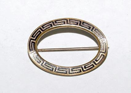 Antique Victorian Black Enamel Mourning Brooch - Free USA Shipping