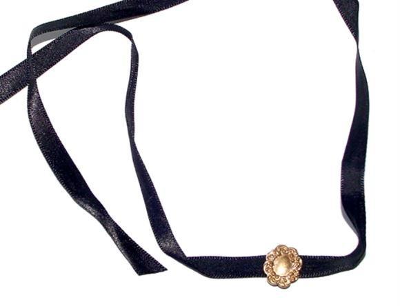 Victorian Gold Filled Slide On Black Ribbon