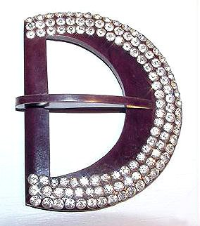 Large Art Deco Celluloid Rhinestones Buckle