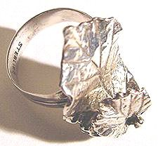 Vintage Sterling Handmade Ring - Leaves