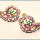 Signed Forties Vintage Mosaic Earrings - Free USA Shipping