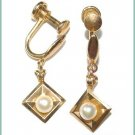 Signed Curtis Vintage Cultured Pearl Drop Earrings - Free USA Shipping