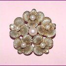 Signed Henkel and Grosse Cultured Pearls Pansies Brooch - Free USA Shipping