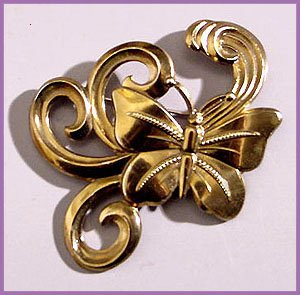 1940s Retro Large Brass Butterfly Brooch - Free USA Shipping