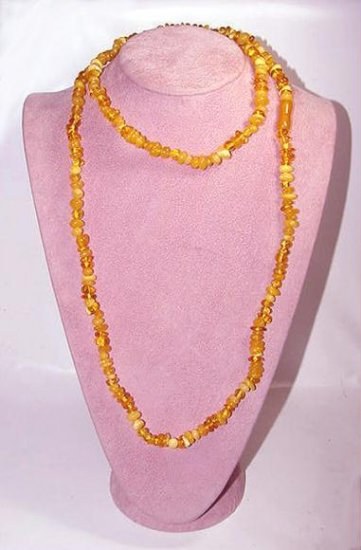 Extra Long Baltic Honey Amber Beads Necklace
