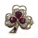 Vintage Clover Brooch - Red and Clear Rhinestones