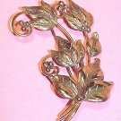 Vermeil Sterling 1940s Leaves and Berries Brooch - Free USA Shipping