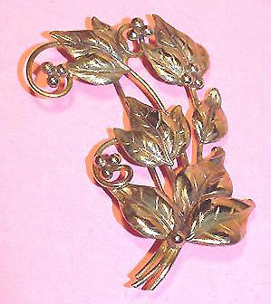 Vermeil Sterling 1940s Leaves and Berries Brooch