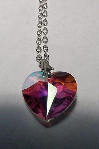 Aurora Borealis Faceted Heart and Sterling Chain