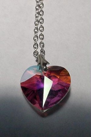 Aurora Borealis Faceted Heart and Sterling Chain - Free USA Shipping