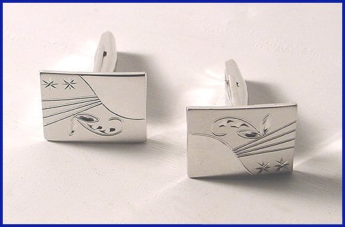 1960s Mens Sterling Engraved Cufflinks Signed T2