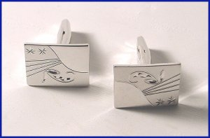 1960s Mens Sterling Engraved Cufflinks Signed T2 - Free USA Shipping