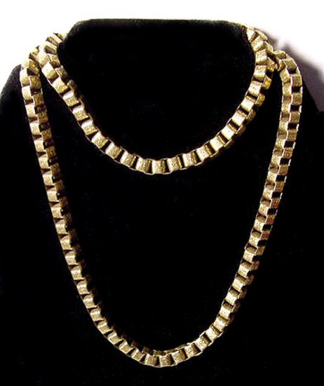 Gilt Victorian Revival Embossed Long Chain Necklace