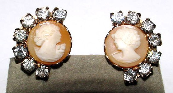 Vintage Shell Cameo and Rhinestones Earrings