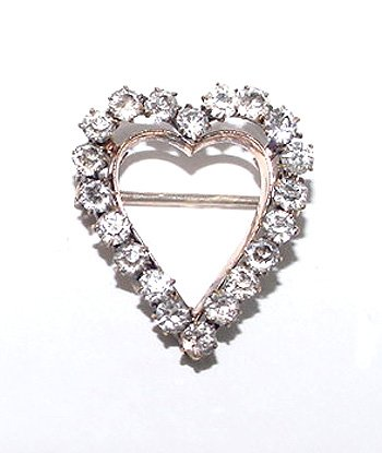 Antique Victorian Heart Brooch Set with Brilliants