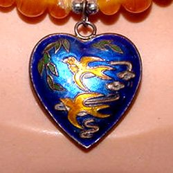 Vintage Enamel Sterling Heart Pendant with Beads
