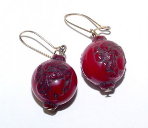 Vintage Celluloid Cameo Bead Earrings - Free USA Shipping
