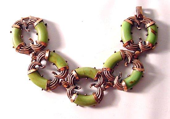 Rare Copper and Green Bakelite Bracelet Signed Charel