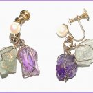 Cultured Pearl, Amethyst & Aquamarine Earrings