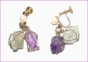 Cultured Pearl, Amethyst & Aquamarine Earrings - Free USA Shipping