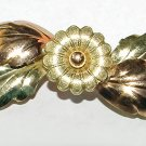 Vintage 1930s Yellow and Pink Gold Plated Victorian Revival Brooch - Free USA Shipping