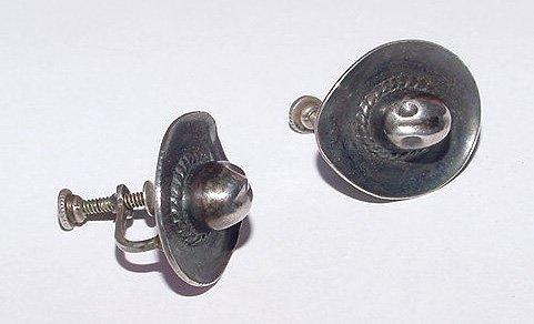 1940s Sterling Cowboy Hats Screwback Earrings