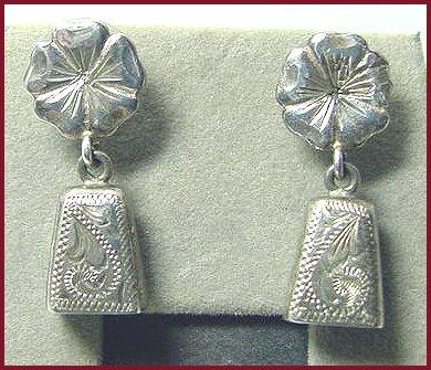 Vintage Engraved Sterling Bell Earrings
