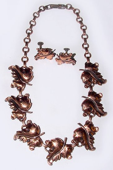 1950s Copper Necklace and Earrings Grape Leaves Set