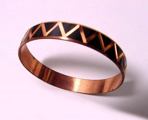 Vintage Copper Bangle with Black Enamel Design - Free USA Shipping