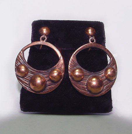 Signed Rebajes Modernist Copper Dangle Clip Earrings