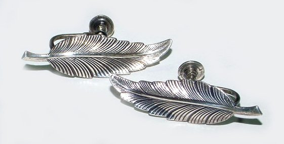 Vintage Sterling Figural Feather Screwback Earrings
