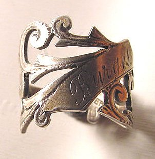 Antique Victorian Sterling Ring with Engraved Surname Burgess