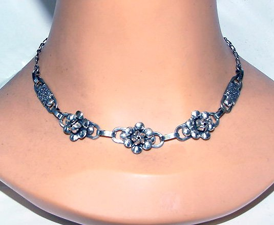 Signed Sterling Roses Vintage Choker and Earrings Set