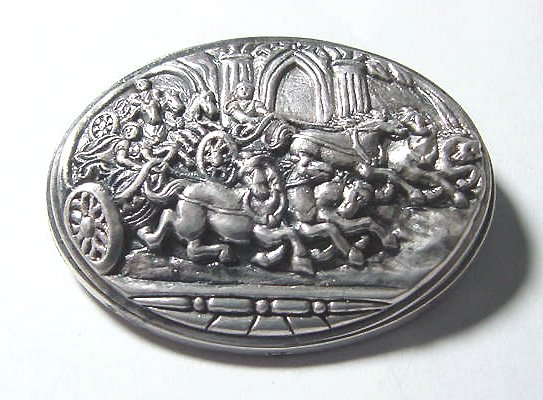 Large Sterling Roman Chariot Race Brooch