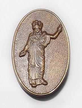 Antique Pallas Athena, Greek Goddess, Bronze Brooch