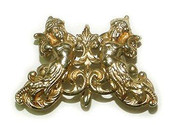 Gilt Cherubs Art Nouveau Antique Watch Pin