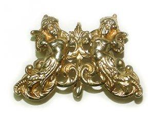 Gilt Cherubs Art Nouveau Antique Watch Pin Free USA Shipping