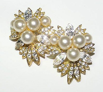 Luscious and Large Pearl and Rhinestone Pierced Earrings