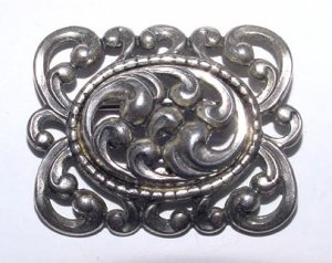 Signed Danecraft Victorian Revival Sterling Brooch - Free USA Shipping