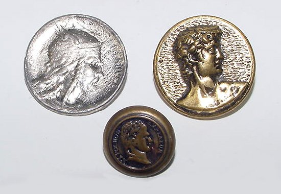 Portrait Buttons - Napoleon, David, Norse god Thor - Free USA Shipping