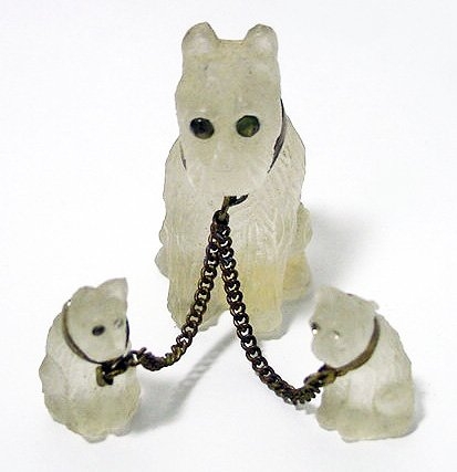 Antique Camphor Glass Scottie Dogs Set