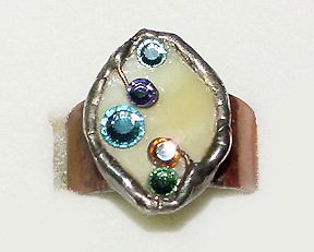 Fabulous Stained Glass, Rhinestones and Copper Ring by Laly