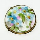 Antique Handpainted Porcelain Forget-Me-Nots Brooch