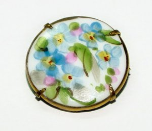 Antique Handpainted Porcelain Forget-Me-Nots Brooch - Free USA Shipping